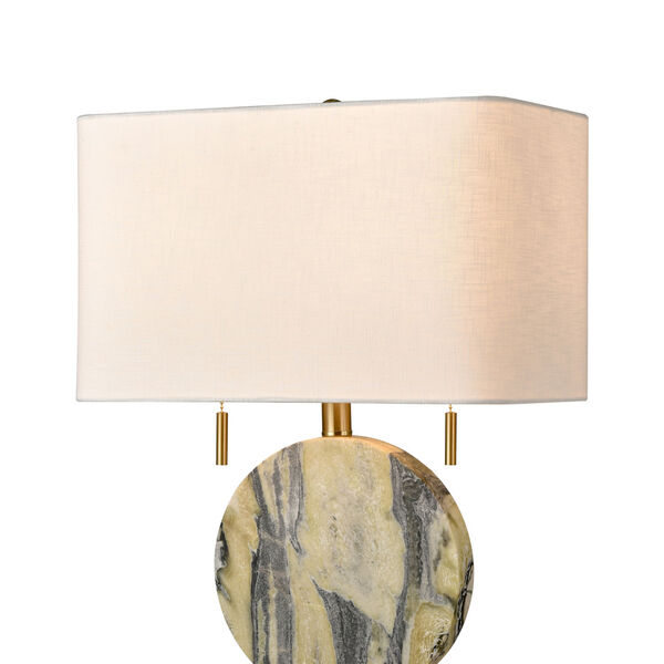 Carrin Natural Stone and Honey Brass Two-Light Table Lamp, image 3