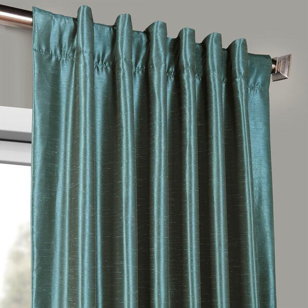 Peacock Vintage Textured Faux Dupioni Silk Single Panel Curtain, 50 X 108, image 4