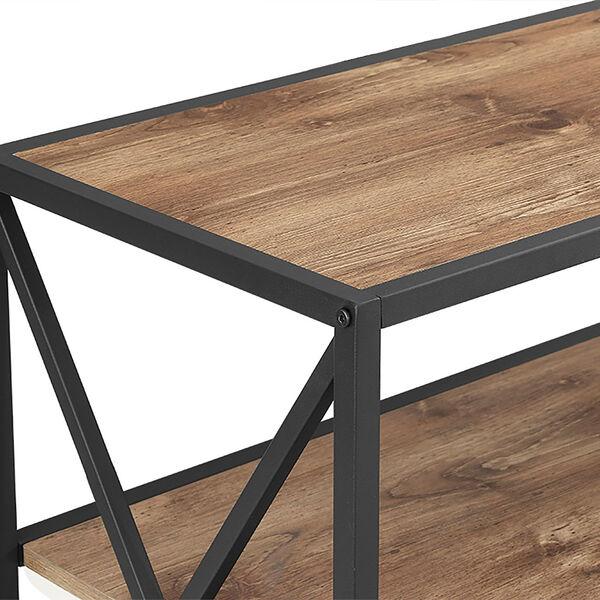 40-inch X-Frame Metal and Wood Media Bookshelf - Barnwood, image 4