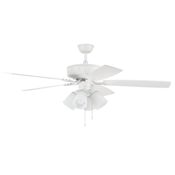 Pro Plus White 52-Inch Four-Light Ceiling Fan with White Frost Bell Shade, image 1