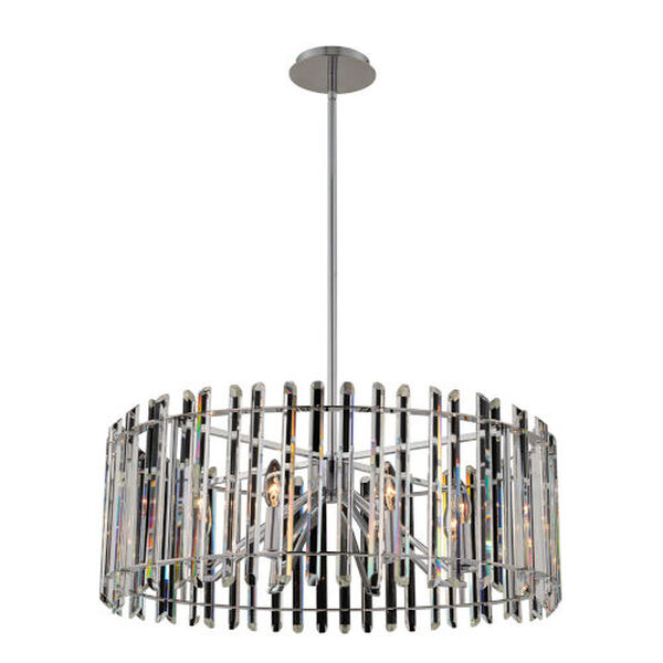 Viano Polished Chrome Eight-Light Pendant with Firenze Crystal, image 1