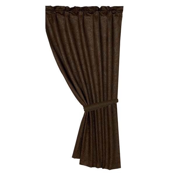 Tooled Leather Chocolate 48 x 84-Inch Curtain Single Panel, image 1