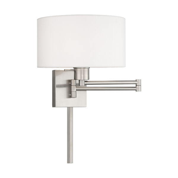 Swing Arm Wall Lamps Brushed Nickel 11-Inch One-Light Swing Arm Wall Lamp with Hand Crafted Off-White Hardback Shade, image 1