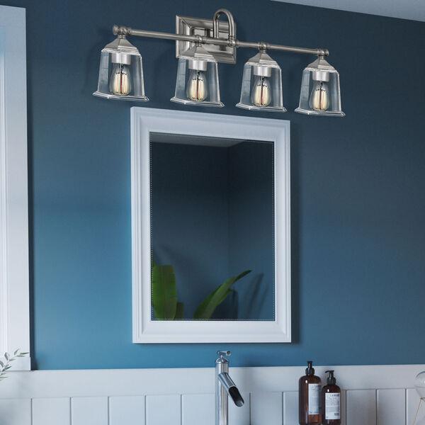 Nicholas Brushed Nickel Four-Light Bath Vanity with Transparent Glass, image 7
