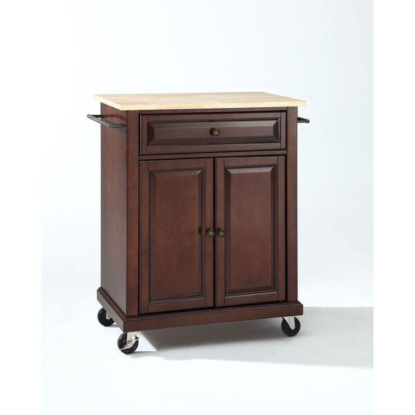 Natural Wood Top Portable Kitchen Cart/Island in Vintage Mahogany Finish, image 1