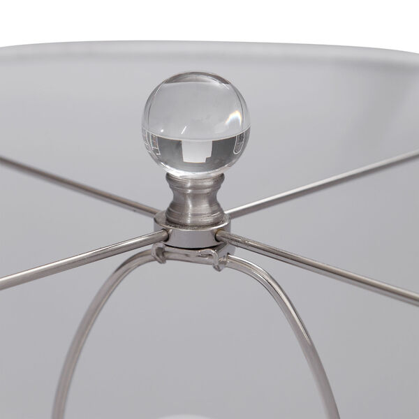 Eline Brushed Nickel and Blue Glass Table Lamp, image 4