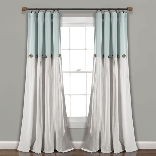 Linen Button Blue and Gray 40 x 108 In. Single Window Curtain Panel, image 1