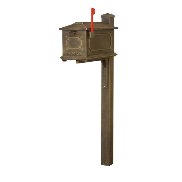 Kingston Curbside Copper Mailbox and Wellington Direct Burial Mailbox Post Smooth Square, image 2