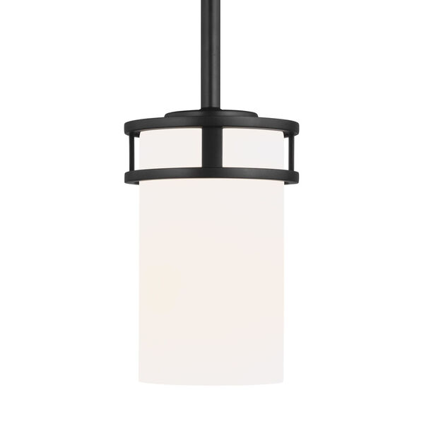 Robie Midnight Black One-Light Mini Pendant with Etched White Inside Shade Energy Star, image 1
