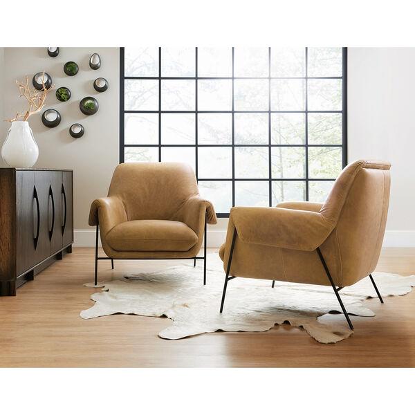 Brown Ambroise Metal Frame Club Chair, image 3