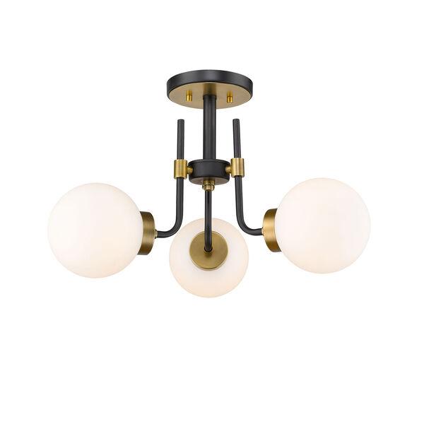 Parsons Matte Black and Olde Brass Three-Light Semi Flush Mount, image 1