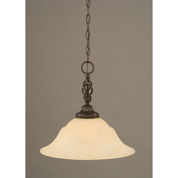 Elegante Dark Granite One-Light Pendant with Amber Marble Glass Shade, image 1