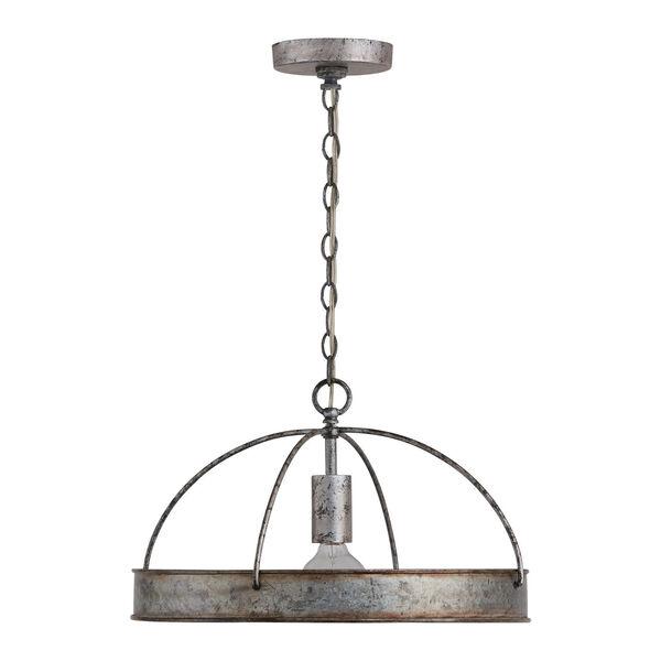 Alvin Antique Galvanized Metal Ring One-Light Pendant, image 4