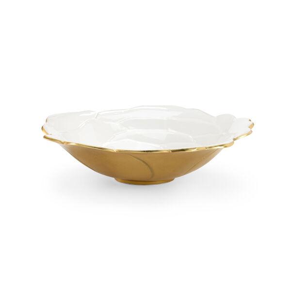 White and Metallic Gold Enameled Decorative Bowl, image 1