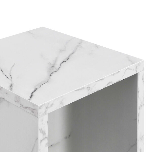 Northfield Admiral White Faux Marble End Table with Shelf, image 4
