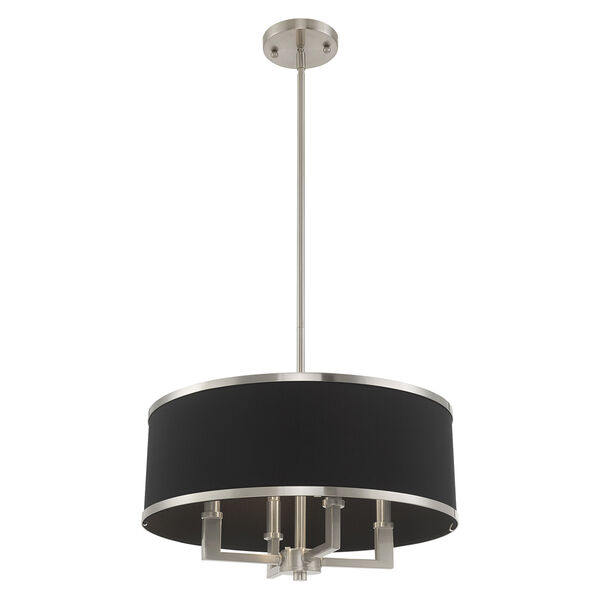 Park Ridge Brushed Nickel 18-Inch Four-Light Pendant Chandelier with Hand Crafted Black Hardback Shade, image 4