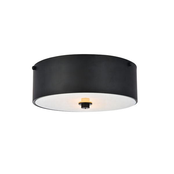 Hazen Flat Black and Frosted White Two-Light Flush Mount, image 3