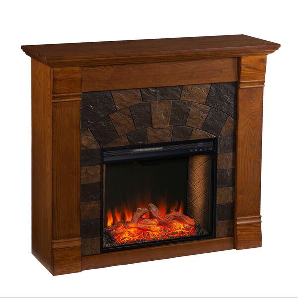 Ellkmont Salem Antique Oak Faux Stone Smart Electric Fireplace, image 5