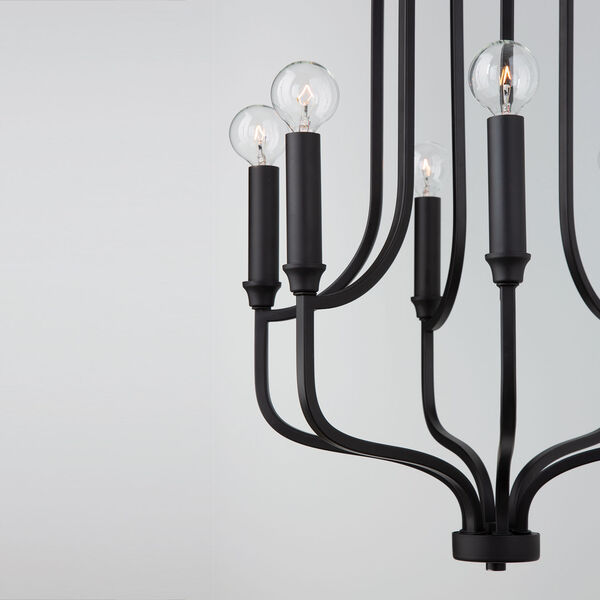 HomePlace Reeves Matte Black Six-Light Chandelier, image 4