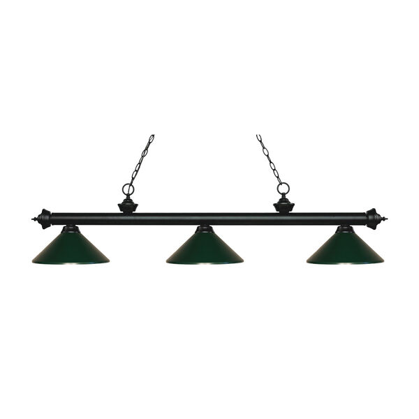 Riviera Matte Black Three-Light Pendant with Dark Green Metal Shades, image 1