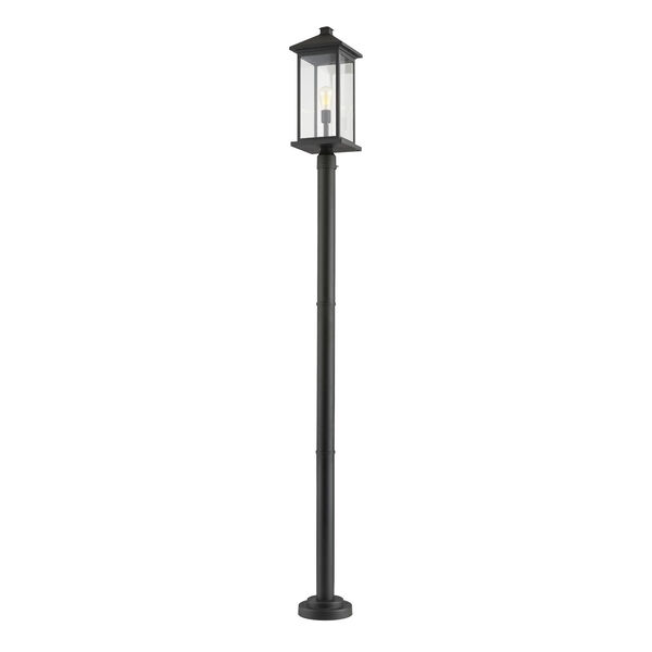 Black One-Light Outdoor Post Mounted Fixture With Transparent Beveled Glass, image 1