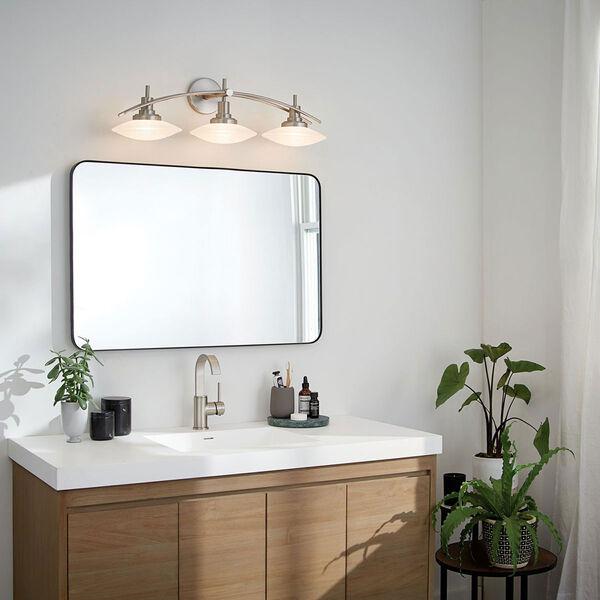 Brushed Nickel Three-Light Bath Fixture, image 2
