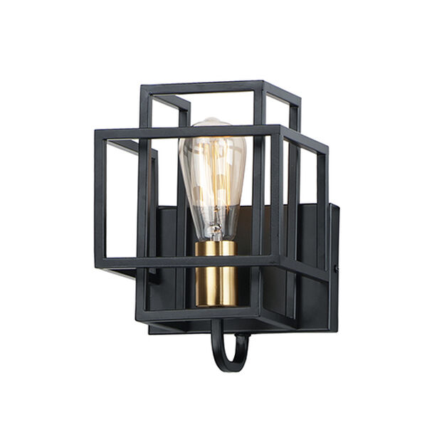 Liner Black and Satin Brass One-Light Wall Sconce, image 1