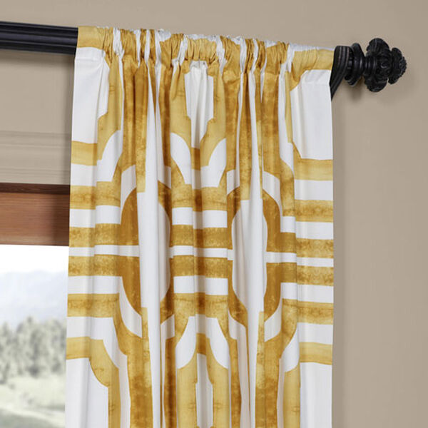 Yellow Gold 84 x 50 In. Printed Cotton Twill Curtain Single Panel, image 3