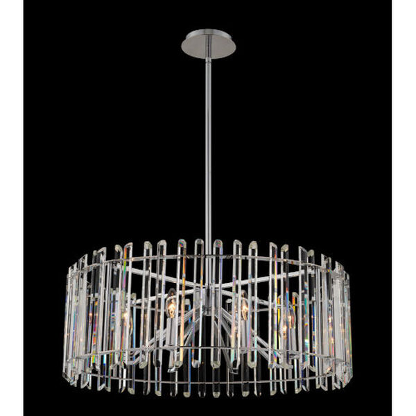 Viano Polished Chrome Eight-Light Pendant with Firenze Crystal, image 2