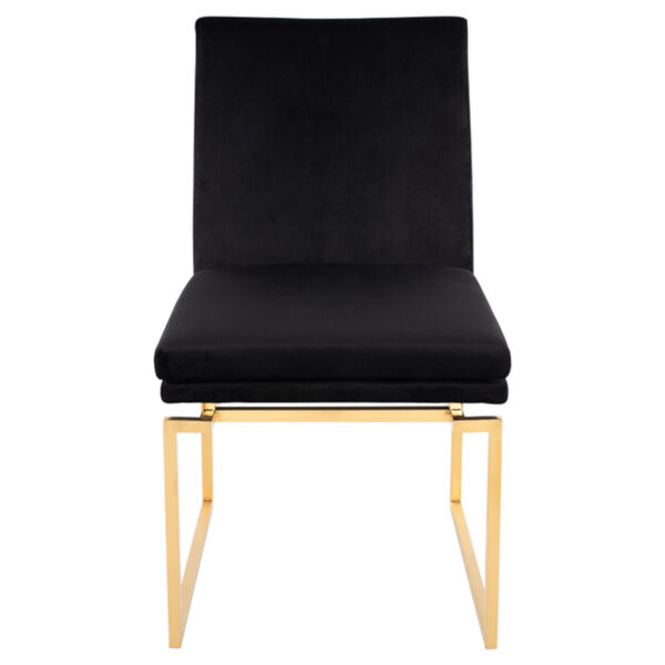 Savine Black and Brushed Gold Dining Chair, image 2