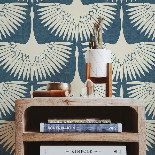 Feather Flock Denim Blue 28 Sq. Ft. Peel and Stick Wallpaper, image 1