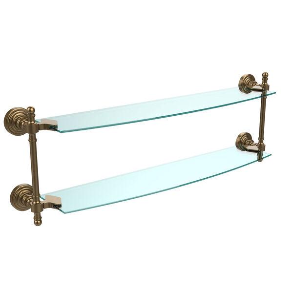 Retro Wave Brushed Bronze 24 Inch x 5 Inch Double Glass Shelf, image 1