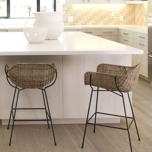 Nusa Natural Rattan and Black Steel Counter Stool, image 5