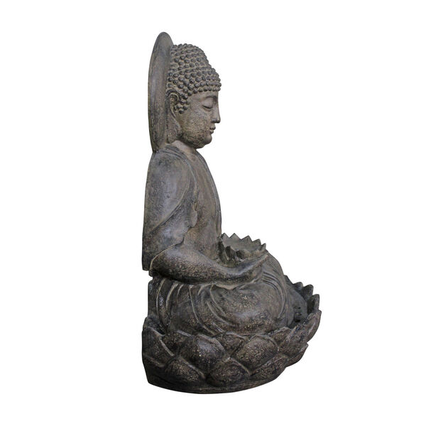 Stone Grey Outdoor Buddha Zen Fountain with LED Light, image 3