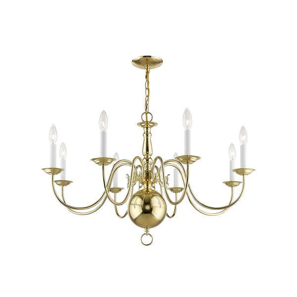 Williamsburgh Polished Brass 32-Inch Eight-Light Chandelier, image 5
