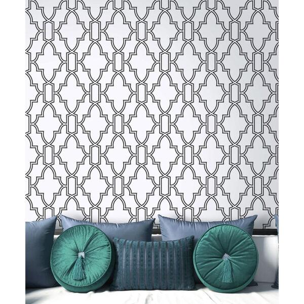 NextWall Black and White Tile Trellis Peel and Stick Wallpaper, image 4