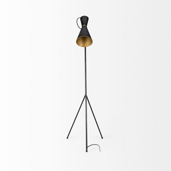 Eris III Black and Brass One-Light Floor Lamp, image 2