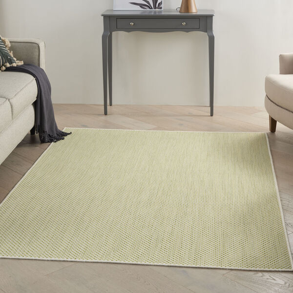 Courtyard Ivory and Green 5 Ft. x 7 Ft. Rectangle Indoor/Outdoor Area Rug, image 1