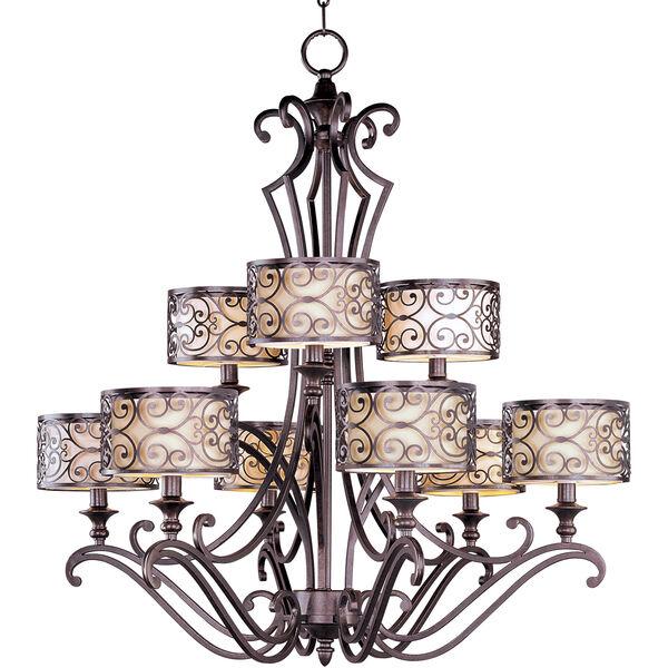 Mondrian Umber Bronze Nine-Light Multi-Tier Chandelier, image 1