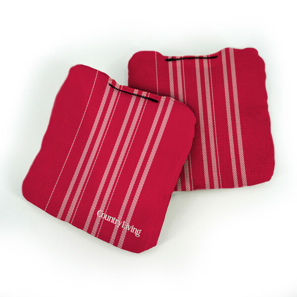 Country Living Red and White French Ticking Pro Cornhole Bags, image 1