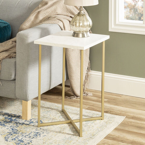 Faux White Marble and Gold Wood Square Side Table, Set of Two, image 1