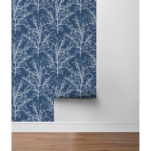 NextWall Blue Tree Branches Peel and Stick Wallpaper, image 6