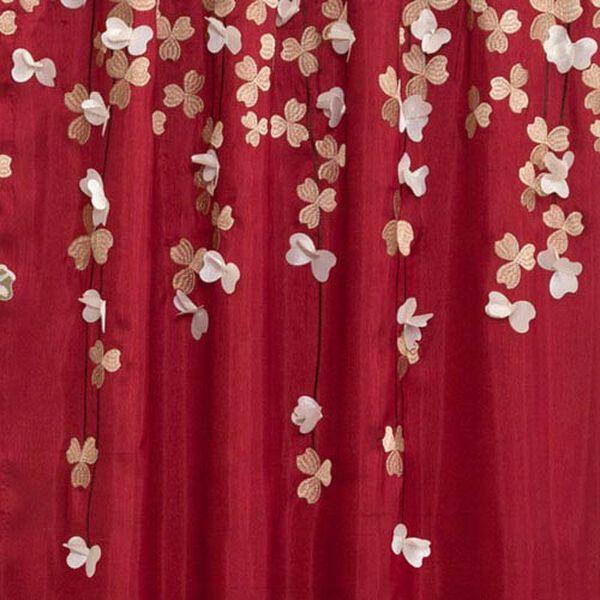 Flower Drop Red Window Curtain Panel, image 2