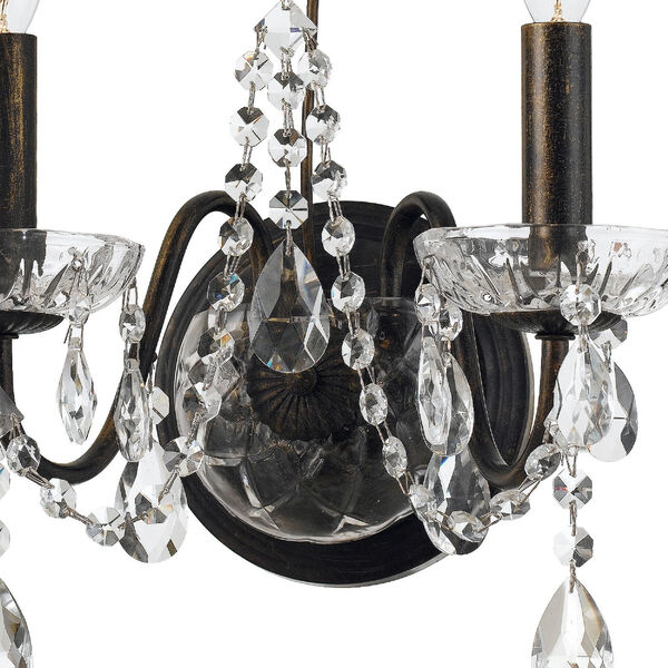 Butler English Bronze 13-Inch Two-Light Swarovski Strass Crystal Wall Sconce, image 2