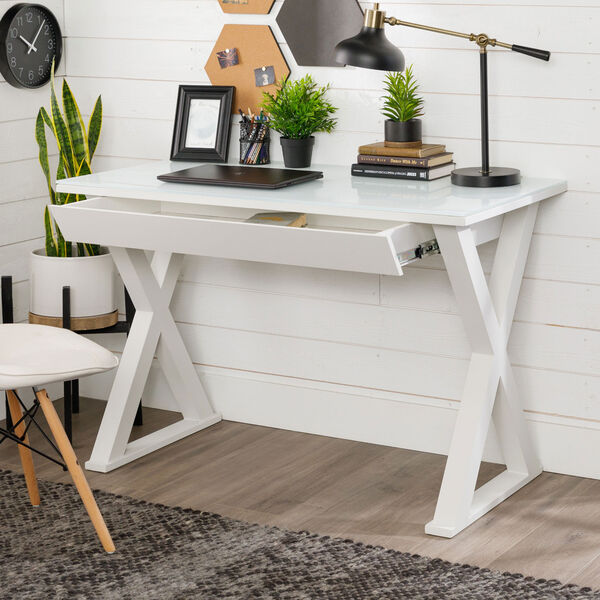 Home Office 48-inch White Glass Computer Desk, image 5