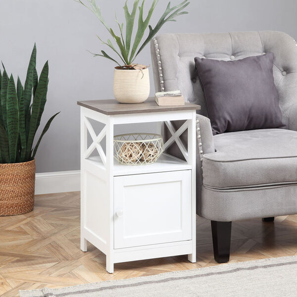 Oxford Driftwood and White End Table with Cabinet, image 1