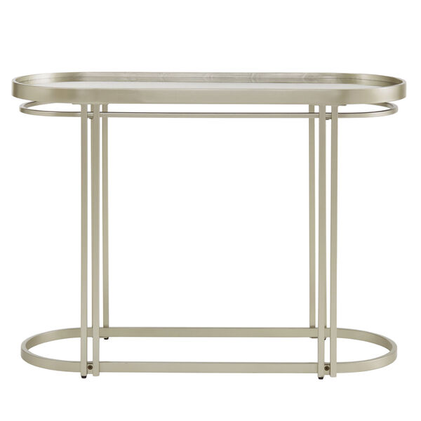 Samantha Champagne Silver Oval Antique Mirror Top Sofa Table, image 2
