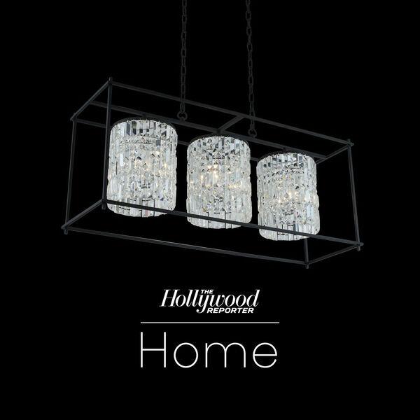 The Hollywood Reporter Joni Matte Black 14-Inch Nine-Light Island Pendant with Firenze Crystal, image 1