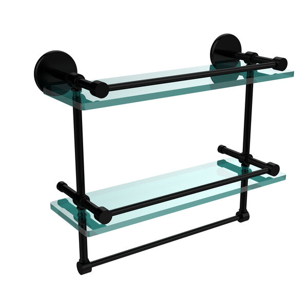 16-Inch Gallery Double Glass Shelf with Towel Bar, image 1
