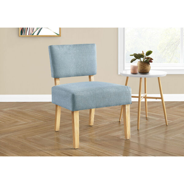Light Blue and Natural Armless Chair, image 2